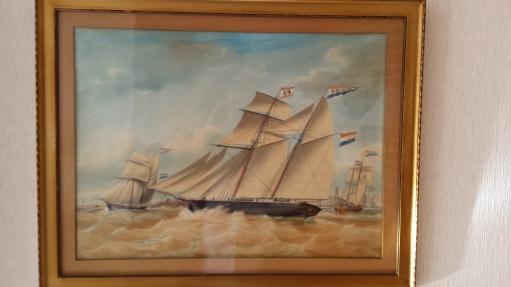 Piet Hein 1856. Gezagvoerder A. Meijer. Schilderij door Jacob Spin.