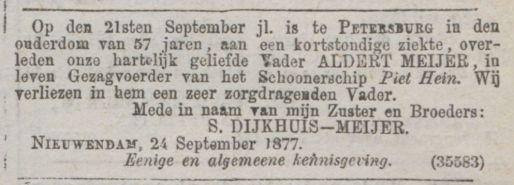 Overlijdensadvertentie kapt. A. Meijer in Petersburg, Algemeen Handelsblad 27 september 1877