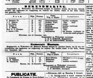 G. H. Dijkhuis in de Nassaulaan krijgt een drankvergunning. Gooi en Eemlander 24- 12- 1881