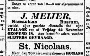 Bakker J. Meijer uit de Nassaulaan vraagt om slijters. Gooi & Eemlander 23 november 1889