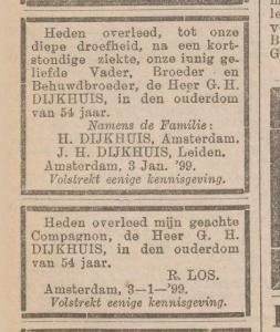 Advertenties van de familie en van zakenpartner Roelof Los bij het overlijden van G.H. Dijkhuis van Dijkhuis & Co in Bussum.