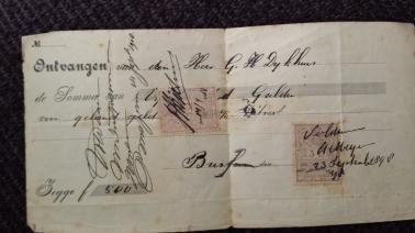 Betalingsbewijs van 500 gulden aan G.H. Dijkhuis, door A. Meijer